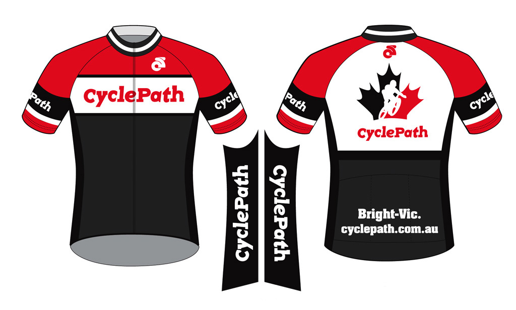 Cycling jersey design for CyclePath in Bright, Vic.