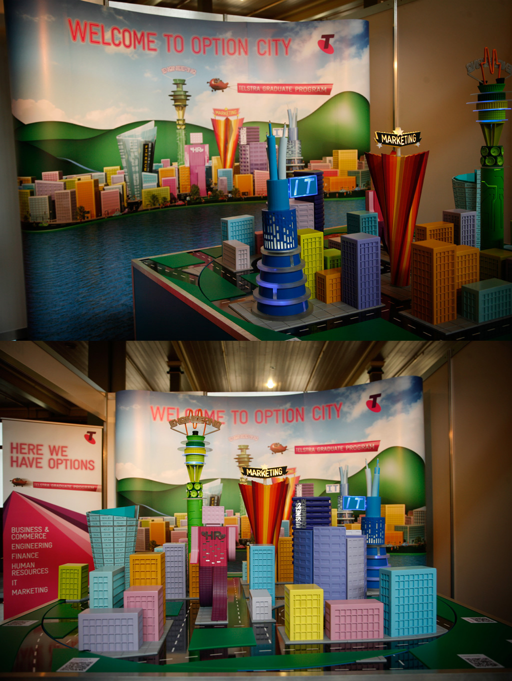 I had the great fortune of working to design this cool city for Telstra's graduate program. I created a series of animations, and as part of the display they brought my 3D buildings to life.